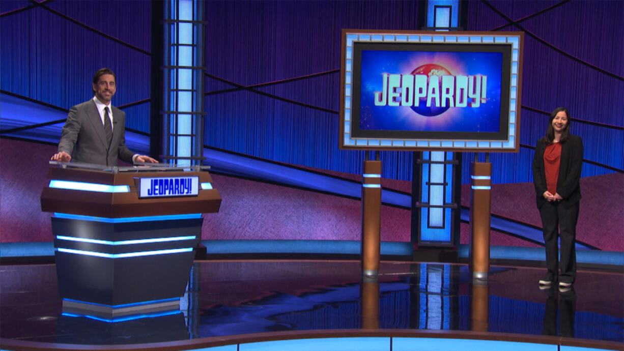 """CAMAS: Jennifer Leong Evans, a stay-at-home mom from Camas, placed third on a """"Jeopardy!"""" episode that aired on April 9 with guest host Aaron Rodgers, a quarterback for the Green Bay Packers."""