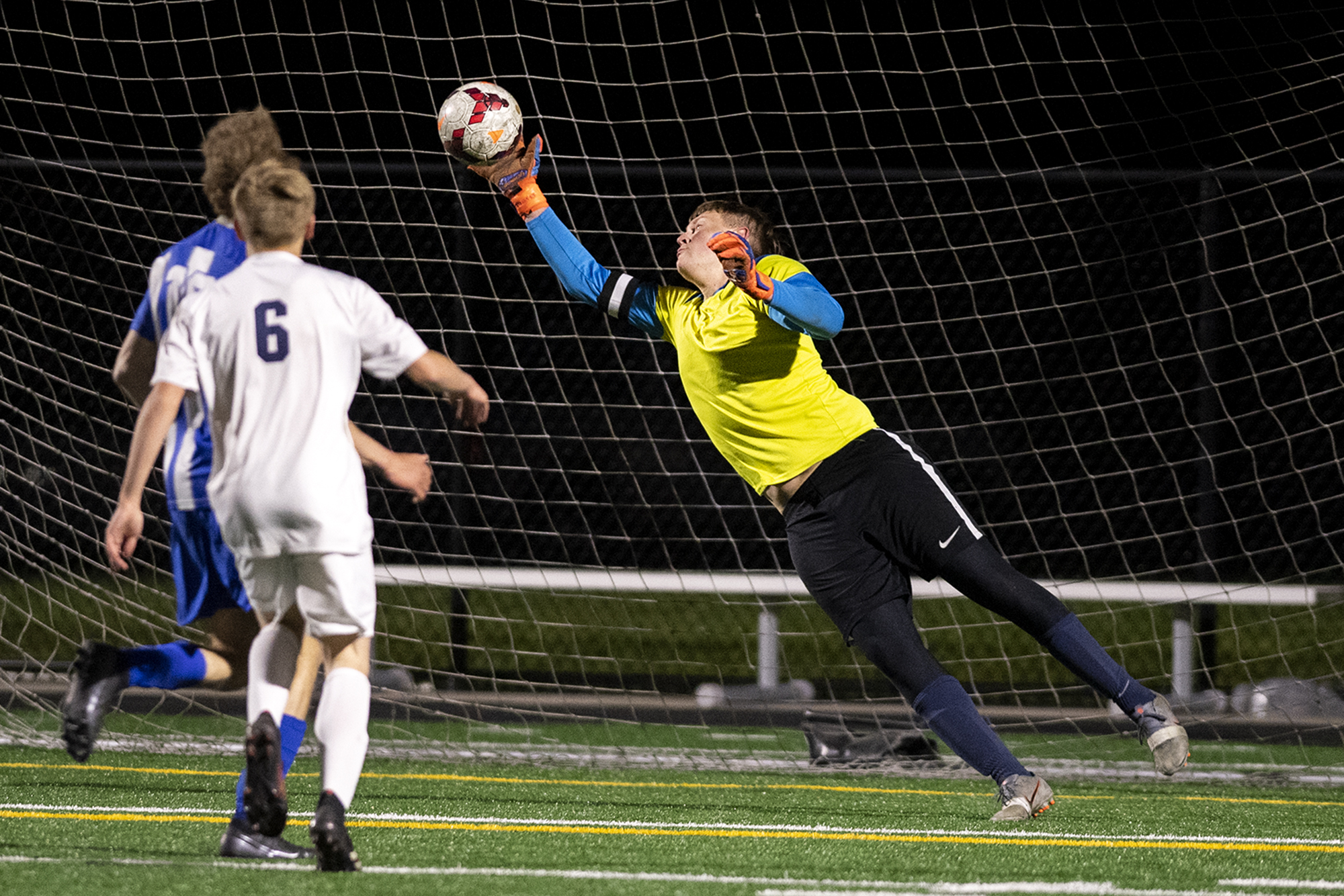 La Center goalkeeper Shawn Child makes a fingertip save late in a 1A Trico League game on Tuesday, April 13, 2021, at Seton Catholic Preparatory School. The Cougars won 3-1 in the 1A Trico League game.