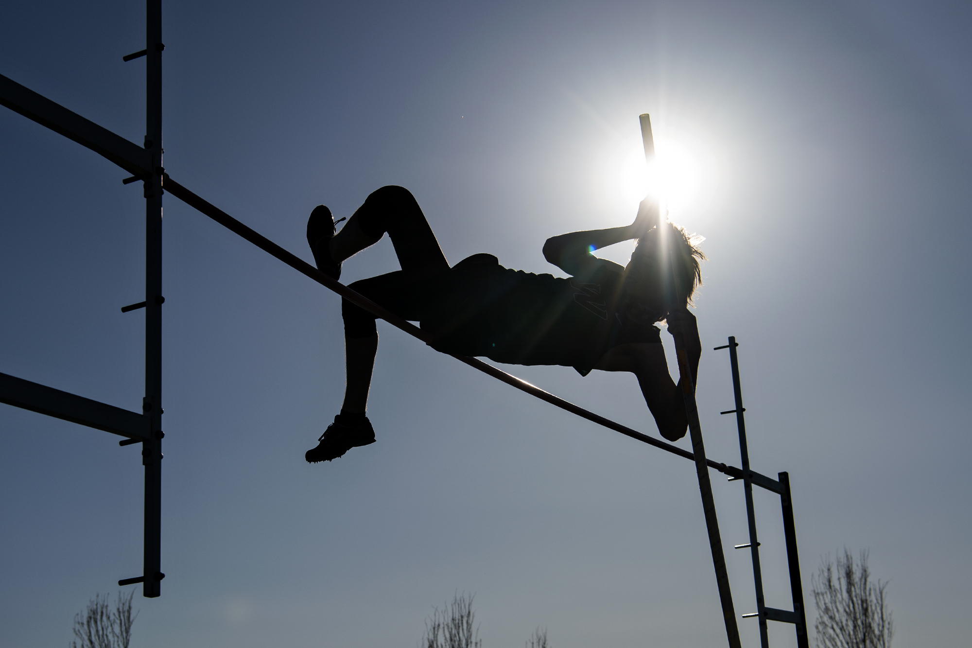 Woodland freshman Nathaniel Risley clears 9 feet in the boys pole vault during a 2A Greater St. Helens League meet on Thursday, April 15, 2021, at Woodland High School.