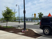 A small memorial for the victim of Saturday morning's shooting on the Waterfront Vancouver appeared over the weekend.