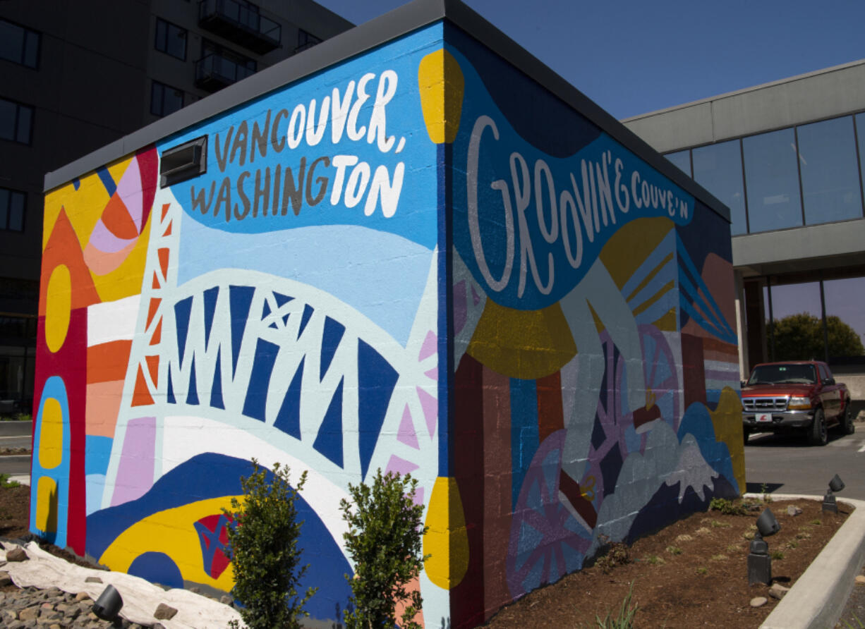 Riff Creative Studio, a design offshoot of LSW Architects, conceptualized and painted this colorful mural, located on a trash enclosure structure across from Vancouver City Hall, last week.