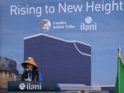 Tanna Engdahl, Cowlitz Elder and Spiritual Leader, gives a blessing on Friday, April 23, 2021, at the ilani on the Cowlitz Indian Reservation. The casino broke ground Friday on a 14-story luxury hotel.