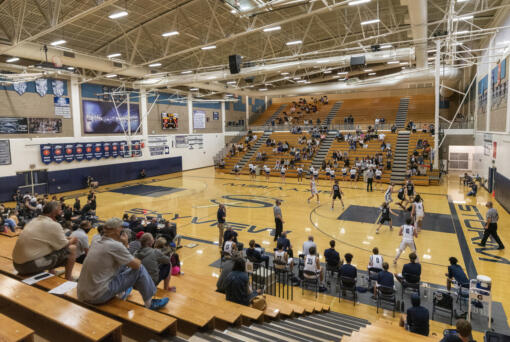 Fans watch the basketball game between Skyview and Union on Tuesday, April 27, 2021, at Skyview High School.(Taylor Balkom/for The Columbian)