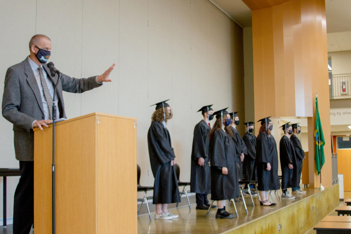 WOODLAND: Woodland High School's Assistant Principal Dan Uhlenkott stepped in to deliver the commencement address and introduce the graduates.