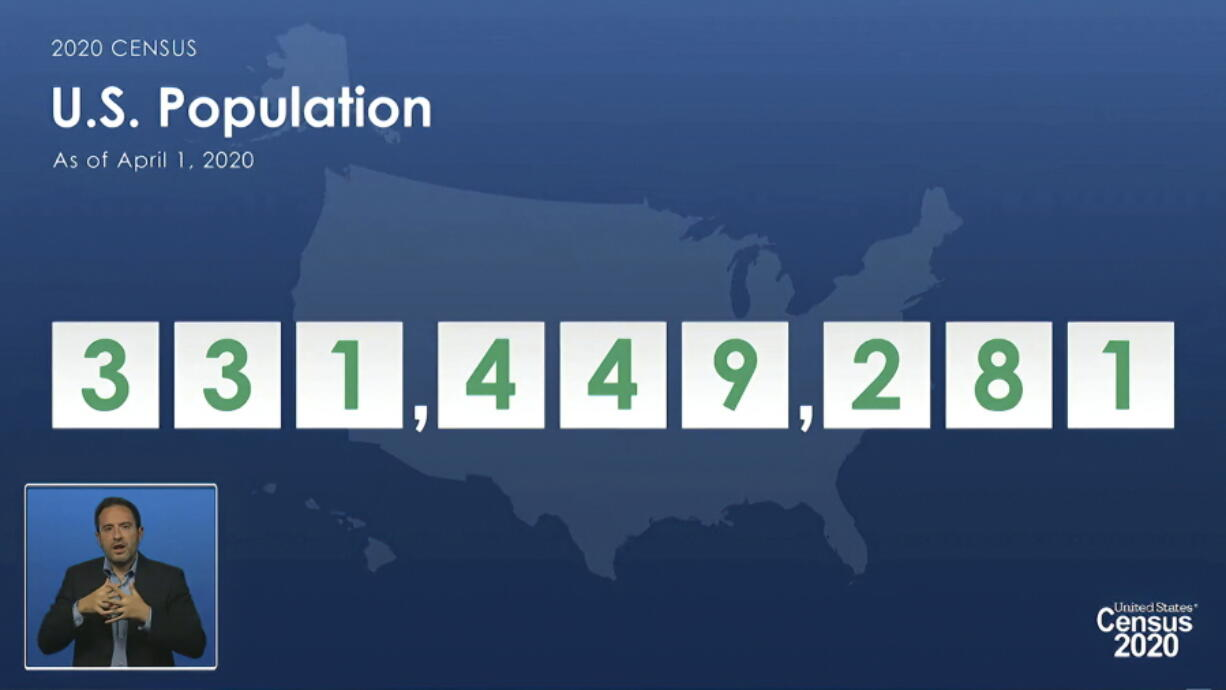 In this image from video provided by the U.S. Census Bureau, acting director of the U.S. Census Bureau Ron Jarmin speaks as a graphic showing the U.S. population as of April 1, 2020, is displayed during a virtual news conference Monday, April 26, 2021. The Census Bureau is releasing the first data from its 2020 headcount. (U.S.