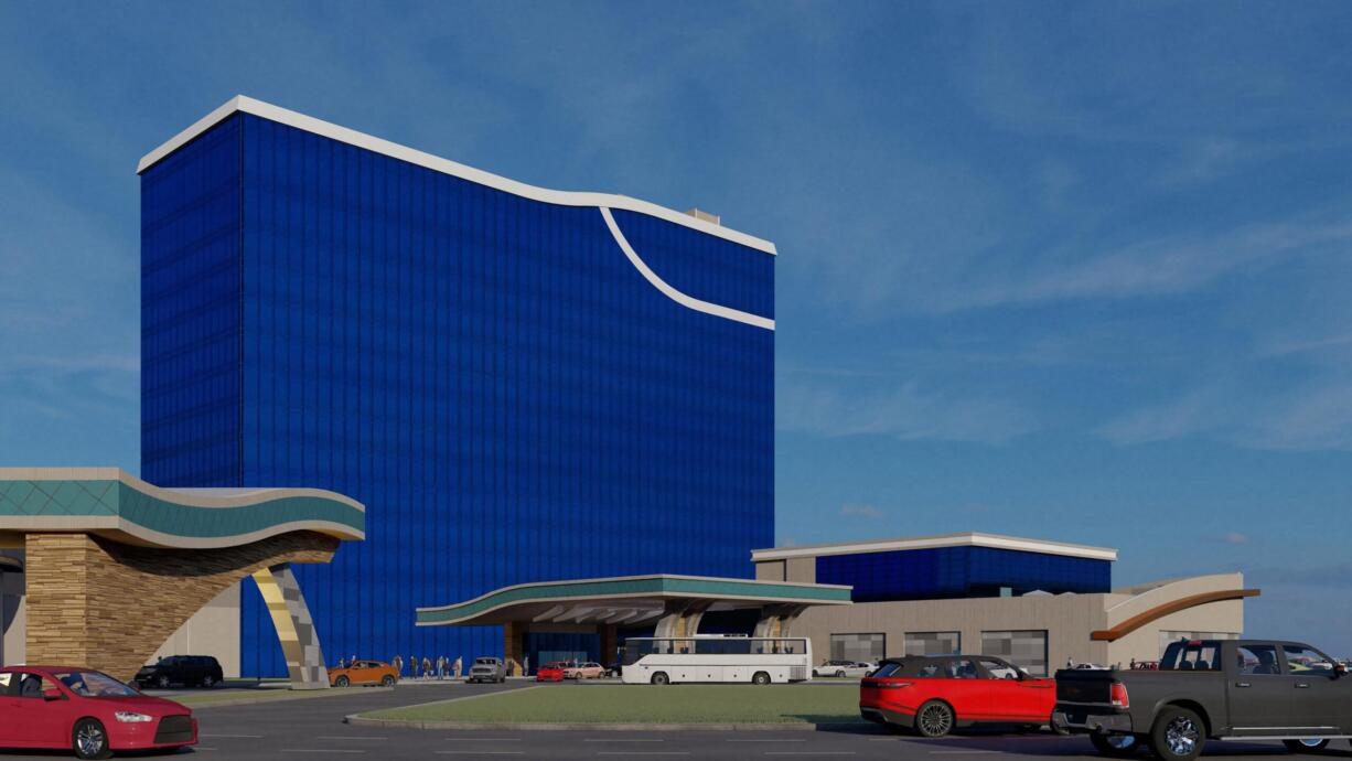An artists rendering of the new hotel that is being constructed on the Cowlitz Indian Reservation at ilani.