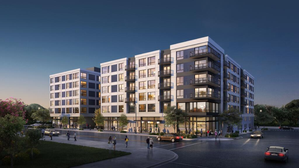 Construction is underway at Block 17 at The Waterfront Vancouver for Broadstone Claro, set to be a seven-story apartment building with garage parking.