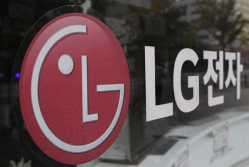 FILE - This Oct. 26, 2017 file photo shows the corporate logo of LG Electronics in Goyang, South Korea. Two South Korean electric vehicle battery makers have settled a long-running trade dispute that will allow one of them to move ahead with plans to make batteries in Georgia. That's according to a person briefed on the matter.
