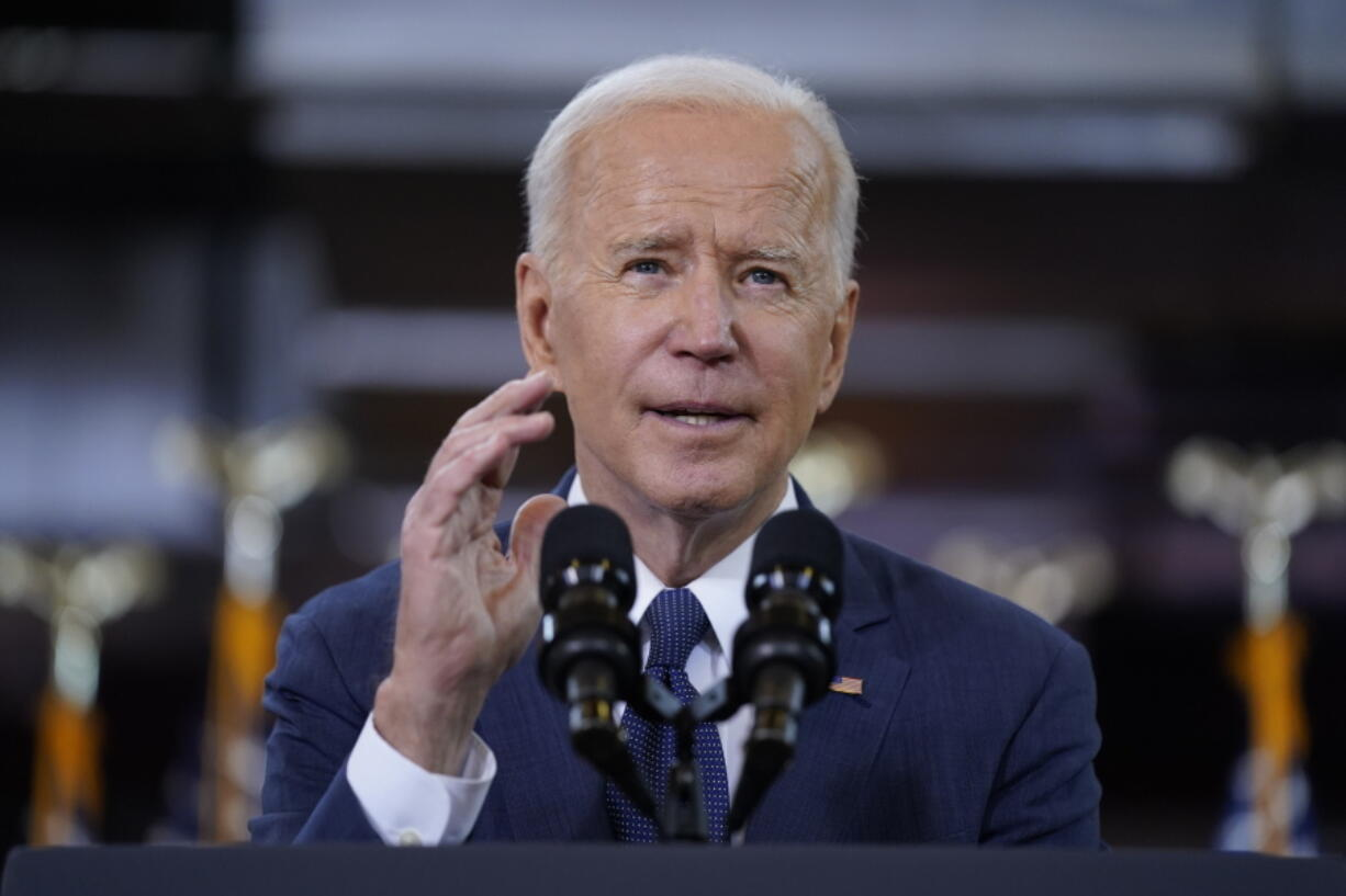 FILE - In this March 31, 2021, file photo President Joe Biden delivers a speech on infrastructure spending at Carpenters Pittsburgh Training Center in Pittsburgh.