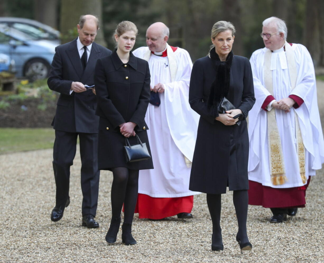 Britain's Prince Edward, Sophie Countess of Wessex and their daughter Lady Louise Windsor, attend the Sunday service at the Royal Chapel of All Saints at Royal Lodge, Windsor, following the announcement of Prince Philip, in England, Sunday, April 11, 2021. Britain's Prince Philip, the irascible and tough-minded husband of Queen Elizabeth II who spent more than seven decades supporting his wife in a role that mostly defined his life, died on Friday.