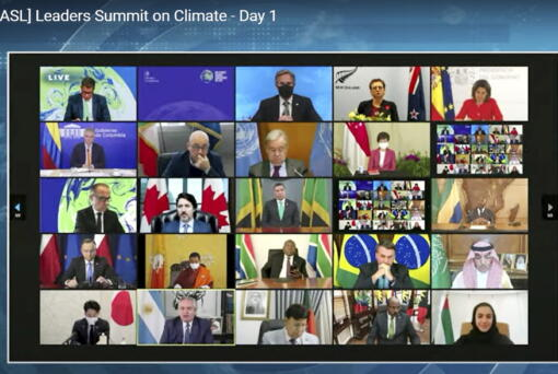 In this image from video world leaders participate in the White House Climate Leaders Summit via Zoom Thursday, April 22, 2021. The U.S. opened Thursday's summit, which is being held virtually by livestream because of the pandemic, with an ambitious pledge to cut by at least one-half the climate-wrecking coal and petroleum fumes that America is pumping out.