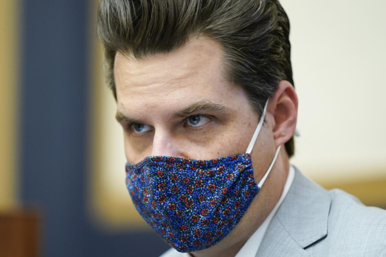 Rep. Matt Gaetz, R-Fla., attends a House Judiciary committee hearing at the Capitol in Washington, Wednesday, April 14, 2021. (AP Photo/J.