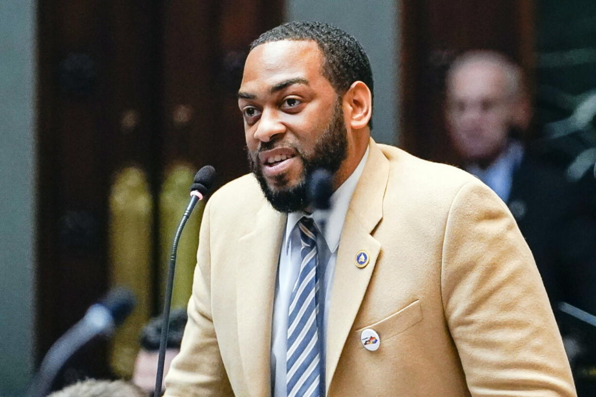 FILE - In this Feb. 19, 2020, file photo, state Rep. Charles Booker advocates for the passage of Kentucky HB-12 on the floor of the House of Representatives in the State Capitol in Frankfort, Ky. Democrat Booker, whose unabashedly progressive campaign in Kentucky came up just short in last year's Senate primary, said Monday, April 12, 2021, he's forming an exploratory committee as he weighs a follow-up Senate race in 2022 against Republican incumbent Rand Paul.