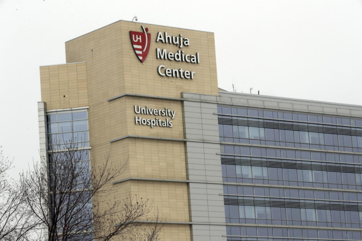 This photo shows the exterior of University Hospital Ahuja Medical Center, Monday, March 12, 2018, in Beachwood, Ohio. The former lab director at a fertility clinic where a malfunctioning storage tank destroyed thousands of frozen eggs and embryos in 2018 is blaming what he described as bungling staff and administrators who ignored his warnings. The claims made in legal filings in April 2021 have ignited a flurry of accusations between University Hospitals in Cleveland and its former employee and his attorney.