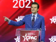 FILE - In this Feb. 26, 2021, file photo, Rep. Matt Gaetz, R-Fla.,, speaks at the Conservative Political Action Conference (CPAC) in Orlando, Fla.