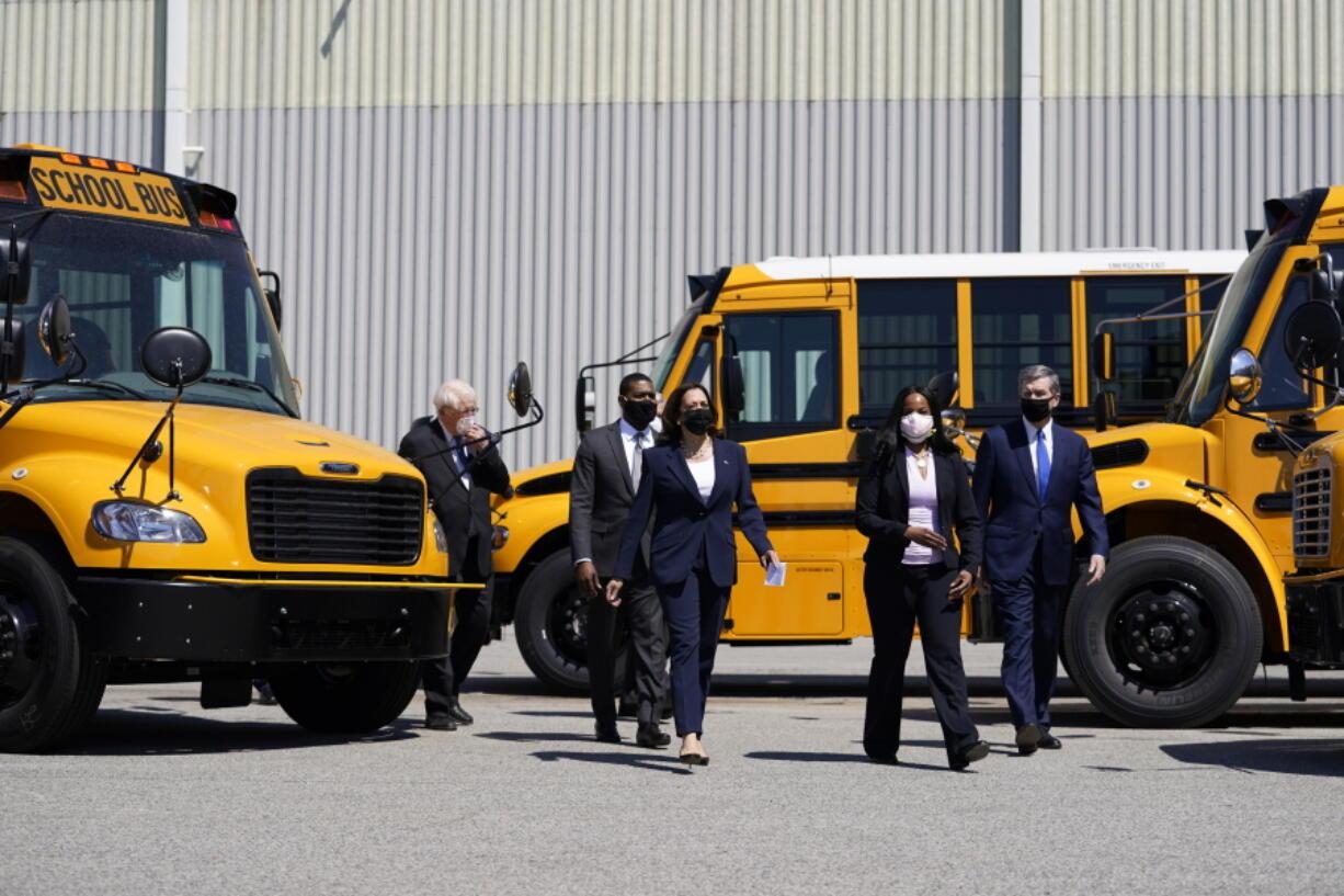 Vice President Kamala Harris tours Thomas Built Buses, Monday, April 19, 2021, in High Point, N.C. Harris is joined by EPA Administrator Michael Regan, North Carolina Gov. Roy Cooper, Leslie Kilgore Vice President of Engineering, Rep. David Price, D-NC.