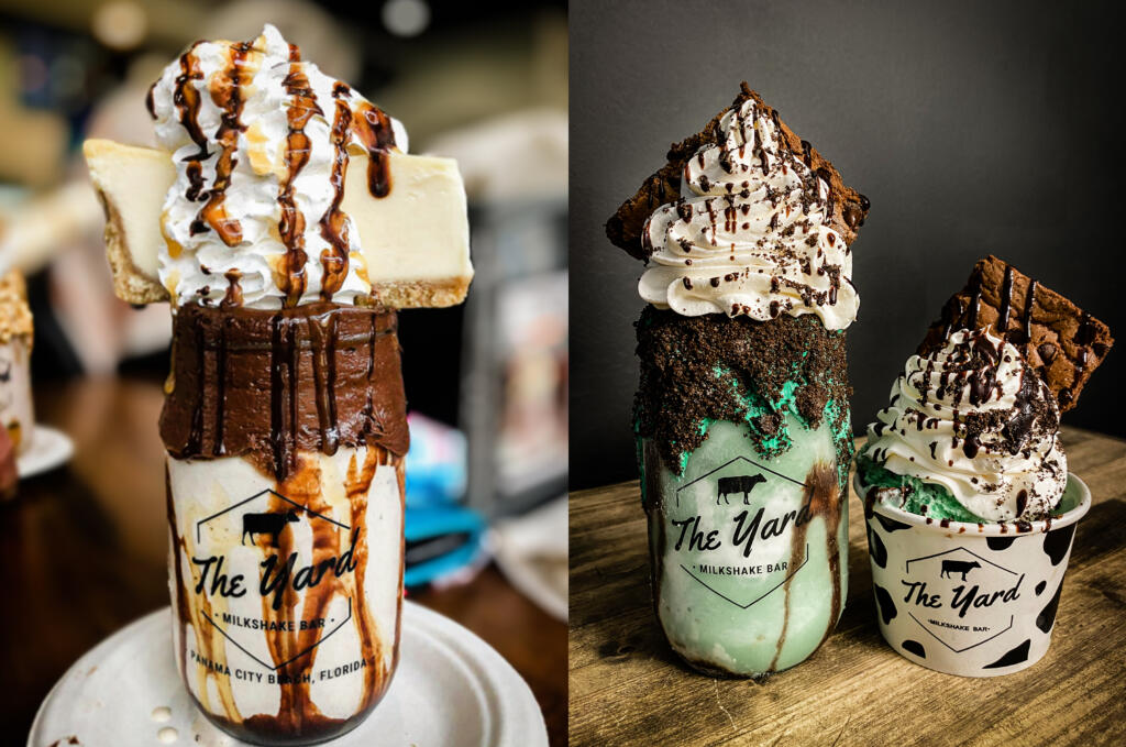 """The Salted Caramel Cheesecake and the Mint Green Monster are two of the """"Freak Shakes"""" offered by The Yard, a milkshake bar coming to the Waterfront Vancouver this summer."""