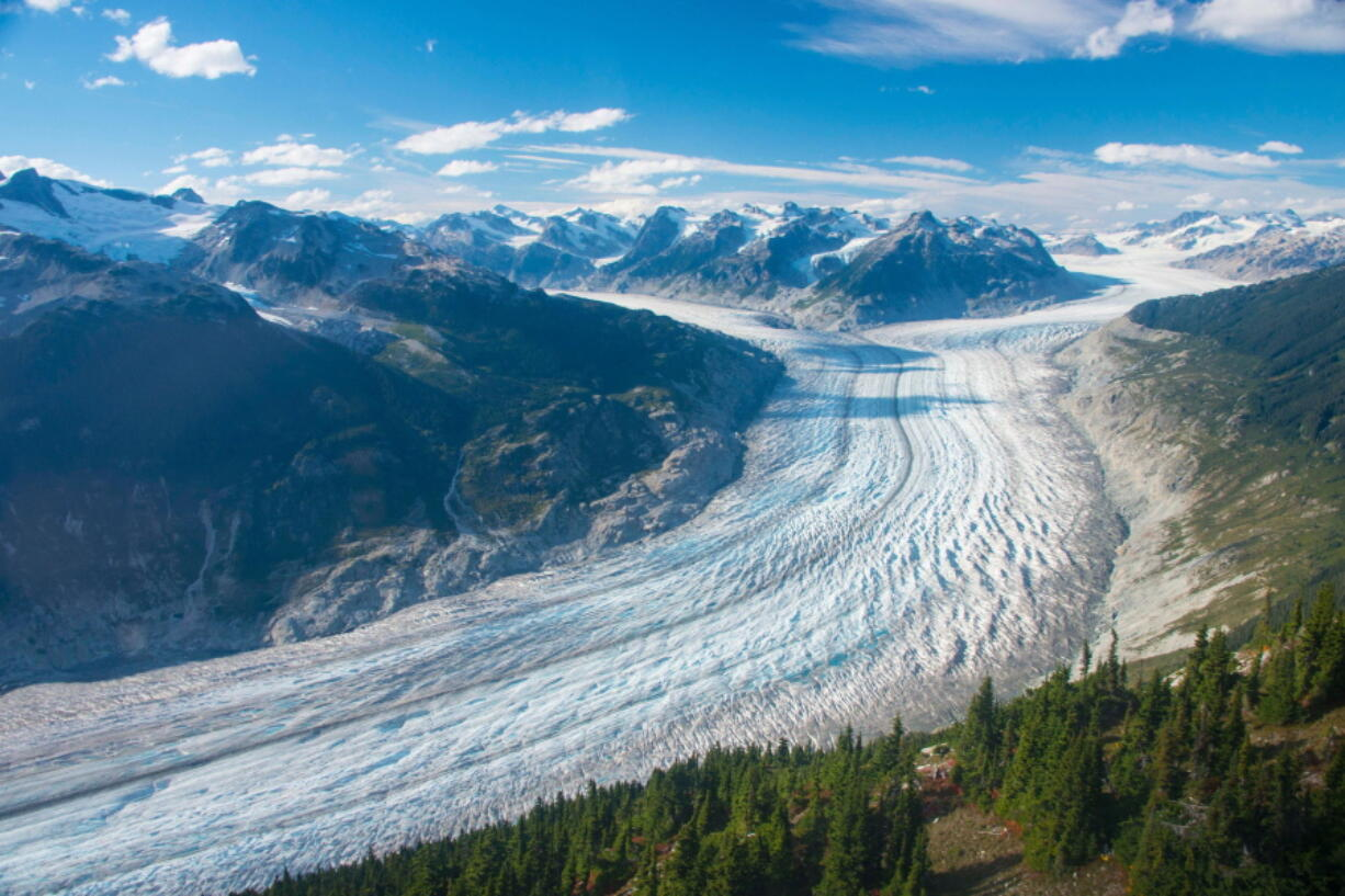 This September 2017 photo shows the Klinaklini glacier in British Columbia, Canada. The glacier and the adjacent icefield lost about 15 gigatons of water from 2000-2019, Menounos says. And the rate of loss accelerated over the last five years of the study.