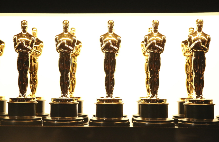 FILE - In this Feb. 26, 2017 file photo, Oscar statuettes appear backstage at the Oscars in Los Angeles. Some people watch awards shows out of love, others because they love to hate. But this year, as ratings have taken a dive, will anybody tune in to the Oscars? Pushed by the pandemic from its usual berth of February or early March, the Academy Awards will be presented April 25 on ABC.