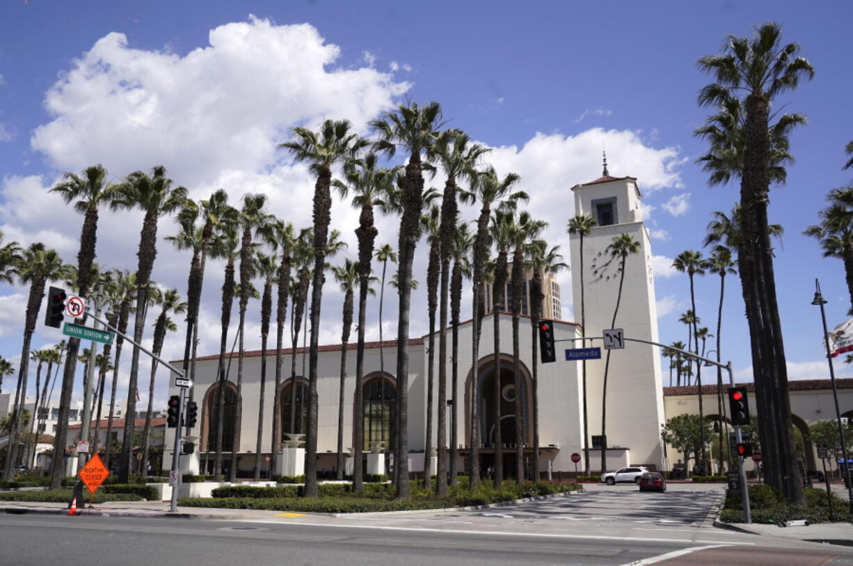 Union Station is pictured, Tuesday, March 23, 2021, in Los Angeles. When the Oscars broadcast begins April 25 on ABC, there won't be an audience. The base of the show won't be the Academy Awards' usual home, but will be held at Union Station, the airy, Art Deco-Mission Revival railway hub in downtown Los Angeles. For the producers, the challenges of COVID are an opportunity to, finally, rethink the Oscars.