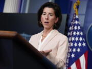 FILE - In this April 7, 2021, file photo Commerce Secretary Gina Raimondo speaks during a press briefing at the White House in Washington. Raimondo estimates she has talked to more than 50 business leaders about the $2.3 trillion infrastructure package that includes corporate tax increases, She is encouraging companies to focus on the entire package instead of the tax increases.