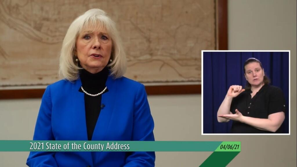 Clark County Council Chair Eileen Quiring O'Brien delivers the annual State of the County address virtually Tuesday night from the Public Service Center in Vancouver.