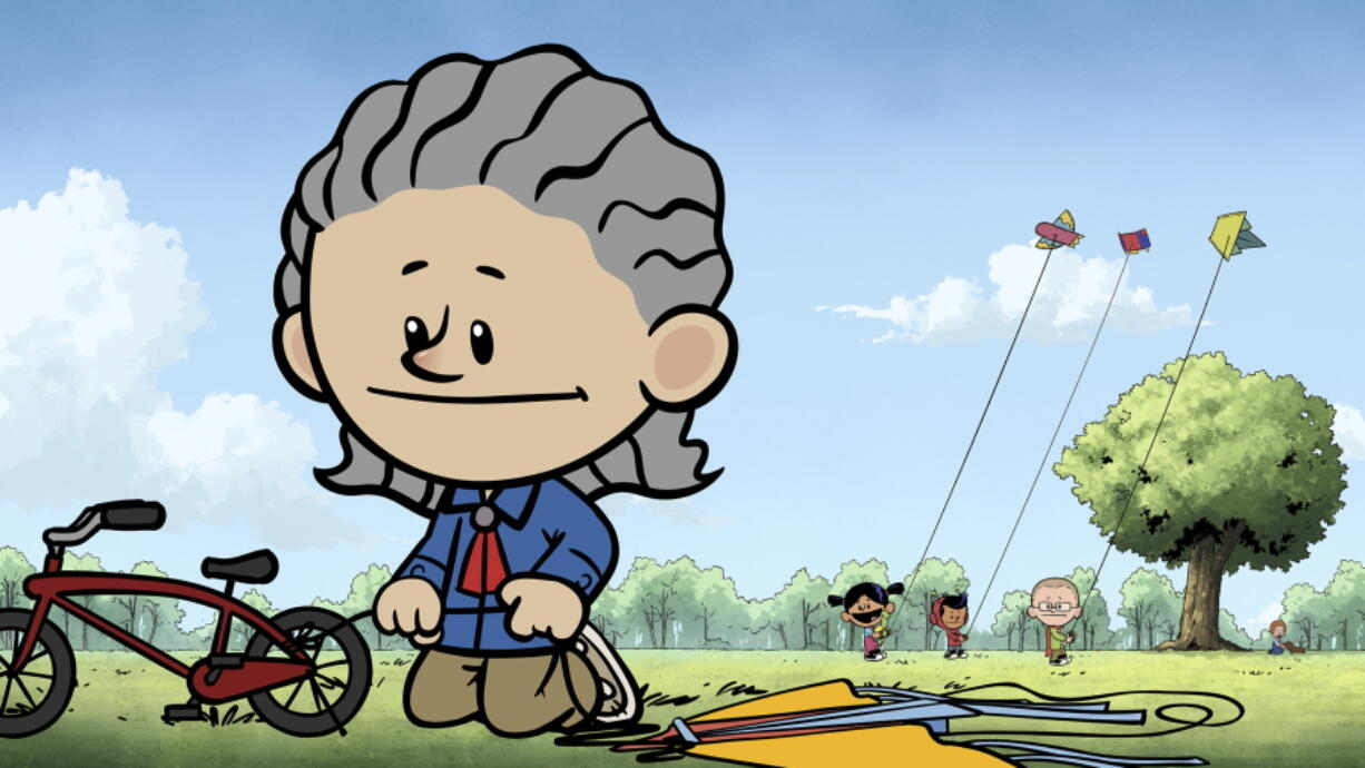 """This image released by PBS Kids shows an animated Temple Grandin, foreground, as other characters Yadina, from background left, Xavier and Brad fly kites in a scene from """"Xavier Riddle and the Secret Museum."""" The episode, premiering on April 5, is one of several ways PBS Kids is shining a spotlight on characters with autism during Autism Awareness Month."""
