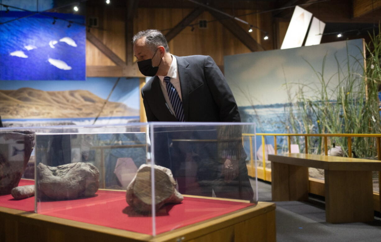 Second Gentleman Douglas Emhoff tours the Yakama Nation Cultural Center Tuesday, April 6, 2021, in Toppenish in Yakima County, Wash.