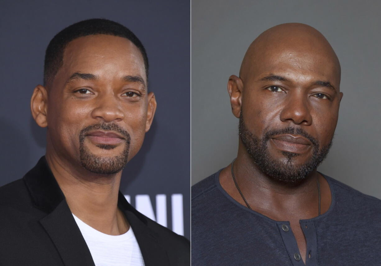 """Will Smith attends the premiere of """"Gemini Man"""" in Los Angeles on Oct. 6, 2019, left, and director Antoine Fuqua appears during a photo session in Los Angeles on July 12, 2015. Smith and director Fuqua have pulled production of their runaway slave drama """"Emancipation"""" from Georgia over the state's recently enacted law restricting voting access. The film is largest and most high profile Hollywood production to depart the state since Georgia's Republican-controlled state Legislature passed a law that introduced stiffer voter identification requirements for absentee balloting."""