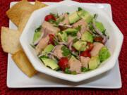 Salmon ceviche with fresh avocado.