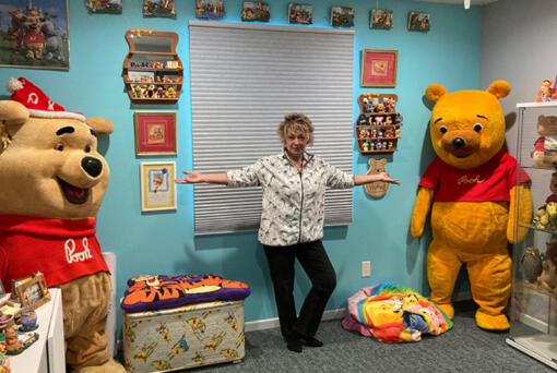 Deb Hoffmann owns the Winnie the Pooh costume used at Disney parks in the 1960s and 1970s (left) as well as one used in Sears during the 1970s and 1980s (right).
