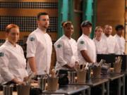 """Top Chef"" is based in Portland for Season 18. Among the chefs competing, from left, are Sasha Grumman, Gabriel Pascuzzi, Dawn Burrell, Byron Gomez, Sara Hauman, Nelson German and Avishar Barua."