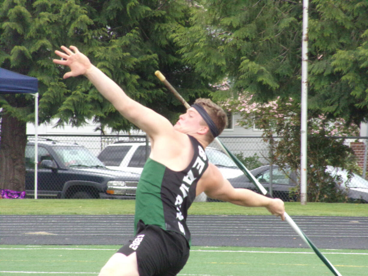 Jason Bowman of Woodland released the javelin on his winning mark of 187 feet, 11 inches at the 2A district track and field meet at Washougal High.