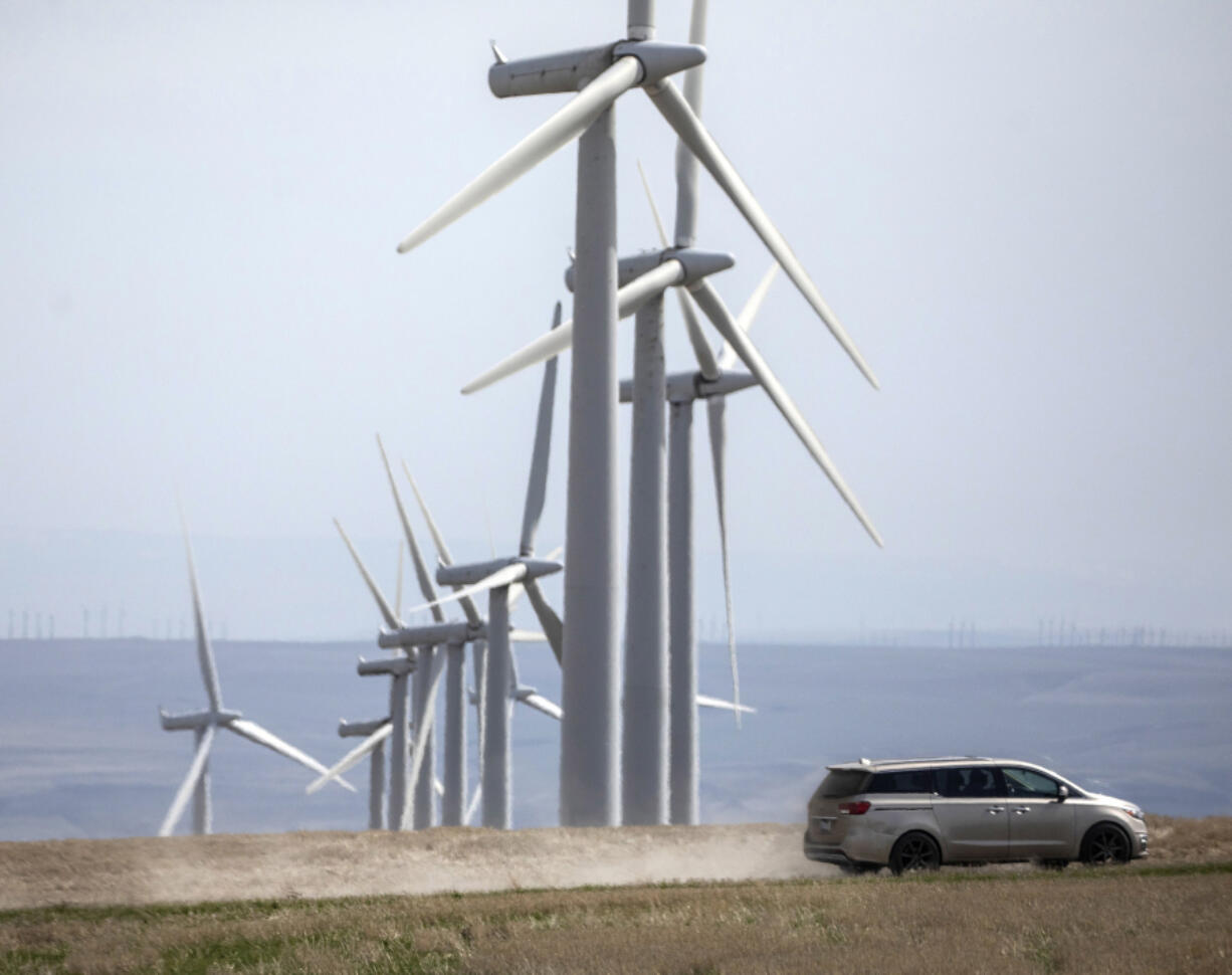 The 20-year-old wind farm project called Nine Canyon near Kennewick, seen on Friday, April 2, 2021, is a jump off point for the proposed wind project that would stretch for 24 miles through the Horse Heaven Hills.