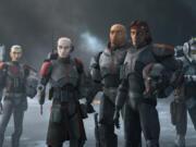 "Crosshair, from left, Echo, Wrecker, Hunter and Tech in ""Star Wars: The Bad Batch."" (Lucasfilm Ltd./Disney+)"