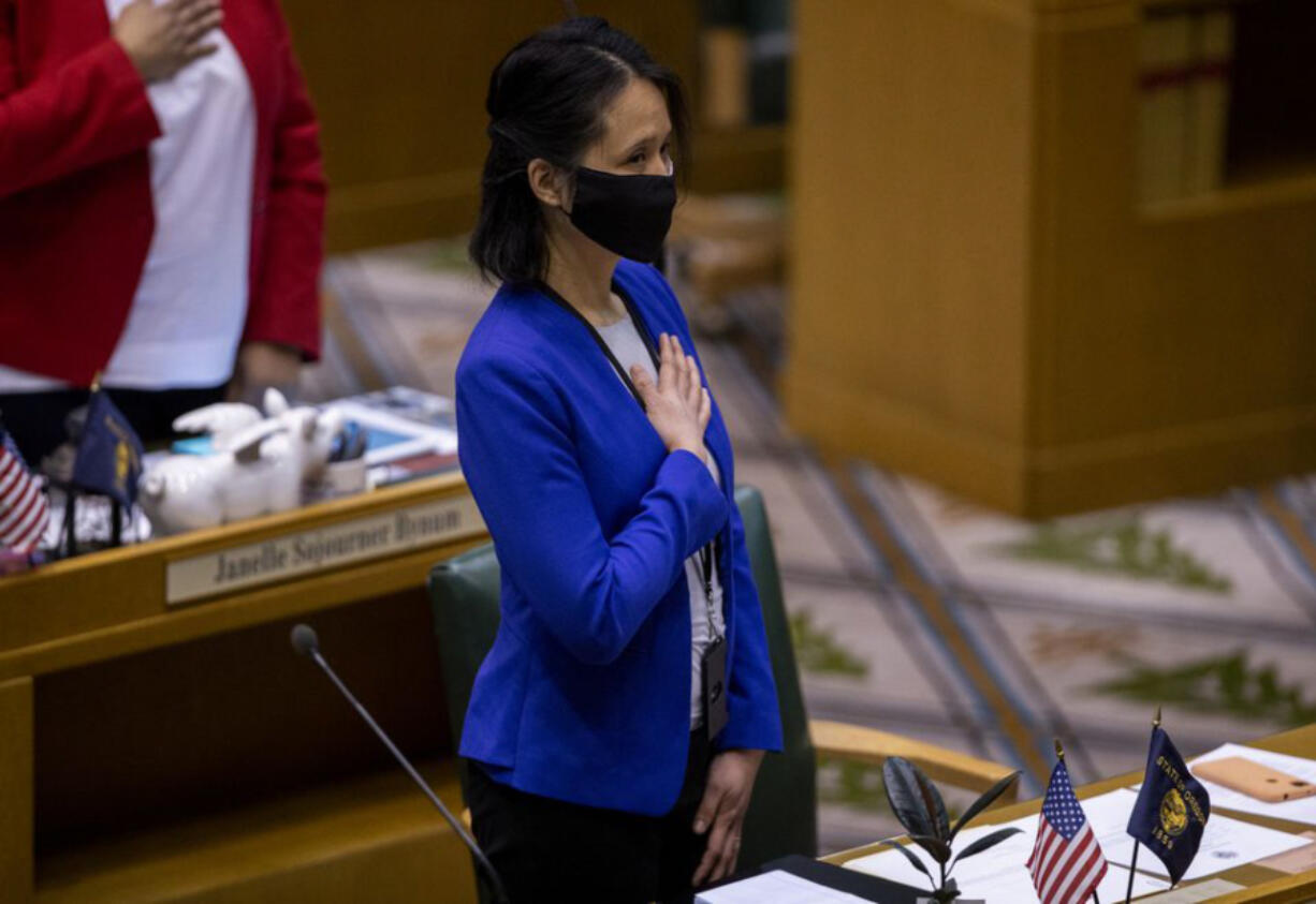 Rep. Khanh Pham being sworn in as a state legislator in January. Pham said the safety issues on 82nd Avenue were a major reason she ran for office.