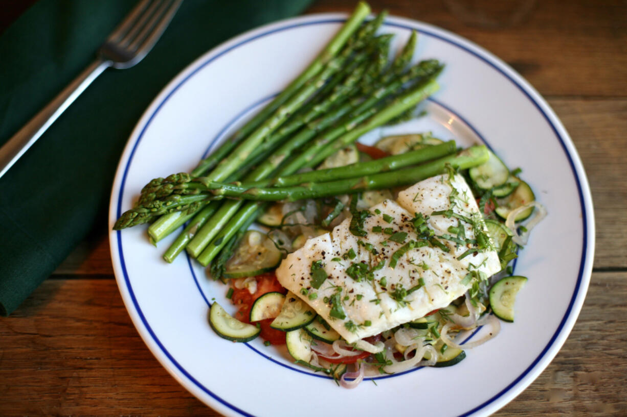 Haddock With Fresh Herbs And Paper-thin Veggies.