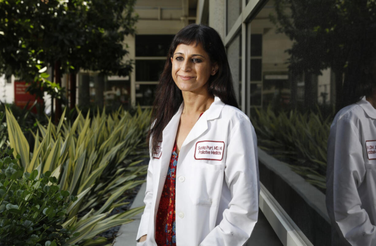 Dr. Sunita Puri, who is trying to rally funds to send supplies to India for the COVID-19 crisis, is photographed at Keck Hospital of USC in Los Angeles on Friday, May 7, 2021.