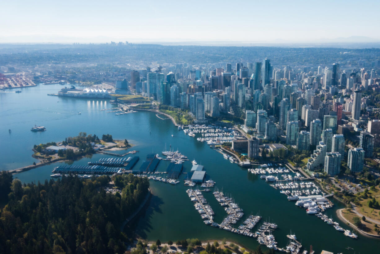 Aerial Image of Vancouver, British Columbia, Canada with Stanley Park, downtown and waterfront