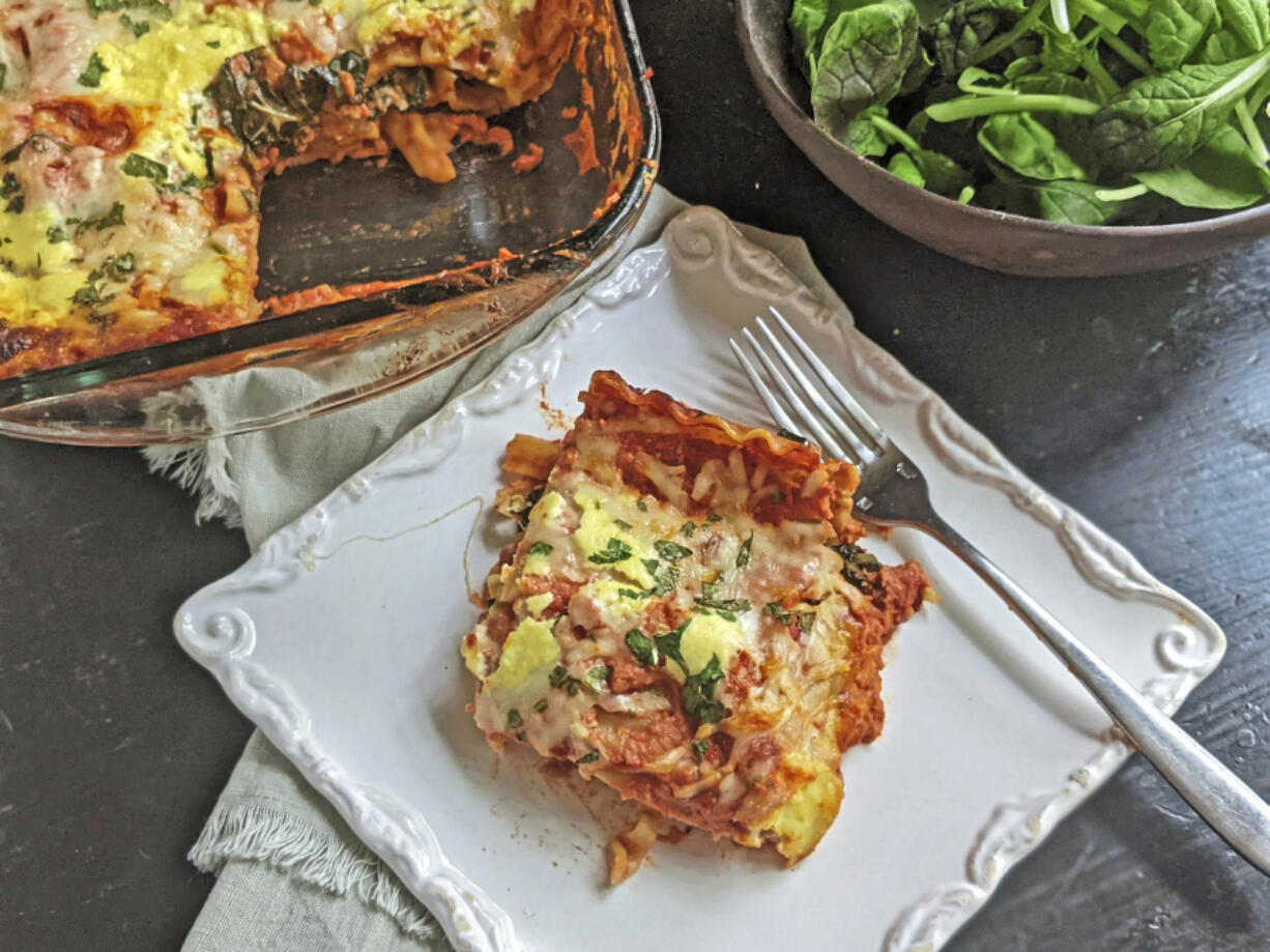Layering sauteed kale and mushrooms instead of meat between the noodles makes this cheesy lasagna a healthier alternative to the classic Italian pasta dish.