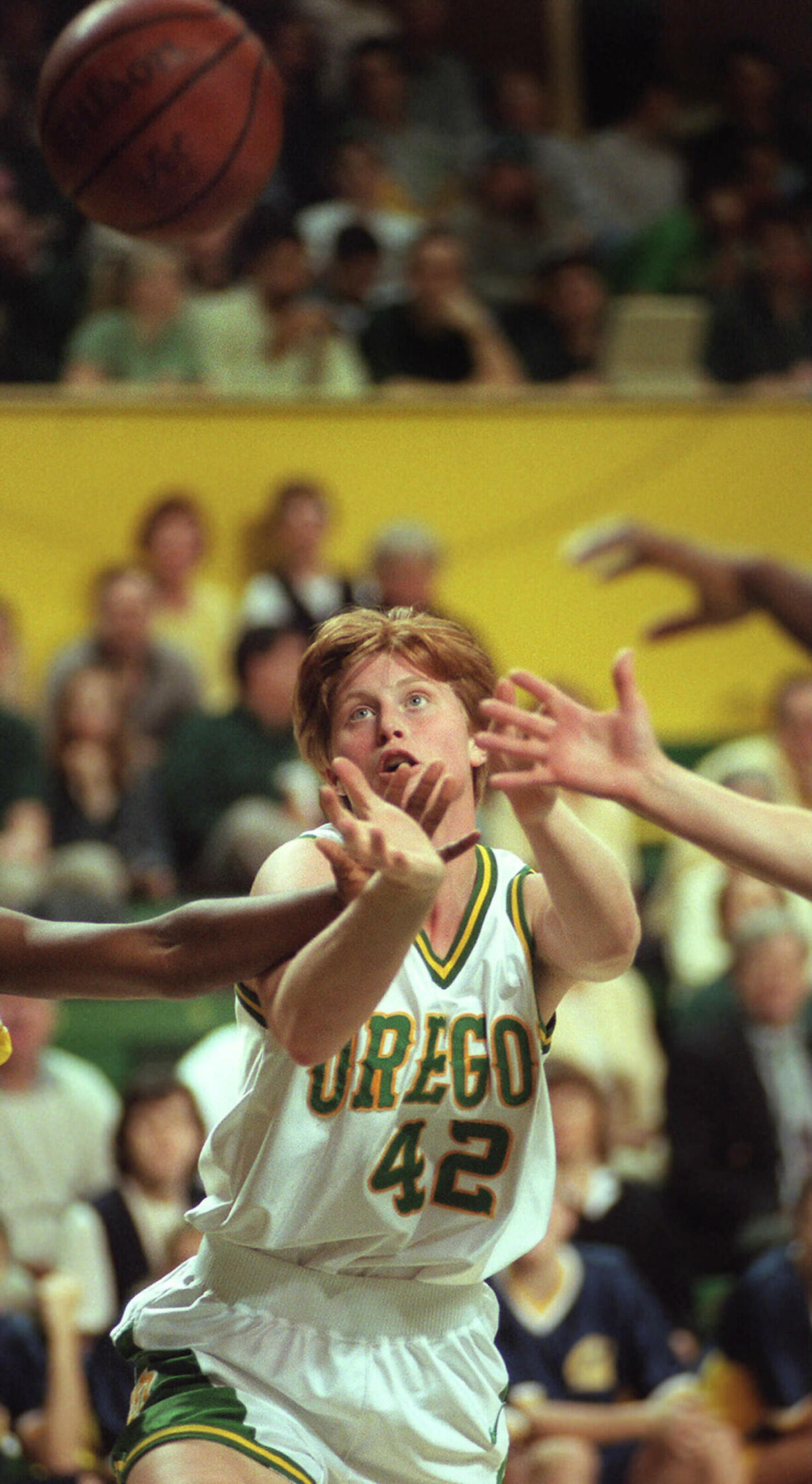 Arianne Boyer, a Fort Vancouver High graduate pictured here in 1997,  was named to the Oregon Athletics Hall of Fame class of 2021. She was just the fifth Duck in program history to score 1,500 career points and was just the third All-American at Oregon.