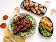 Turkey and Vegetable Kebabs and Smoky Beef and Mushroom Kebabs.