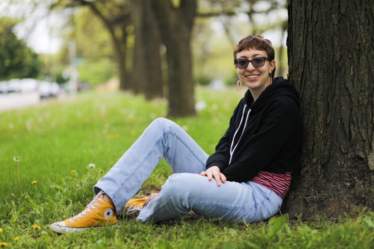 Angeliki Vassilatos, an 18-year-old senior at Whitney Young Magnet High School, is taking a gap year following graduation to work on a farm in Seattle. She'll be attending Gallaudet University, but not until fall 2022. She is deaf, so having to wear masks is an extreme barrier for communication. (Jose M.