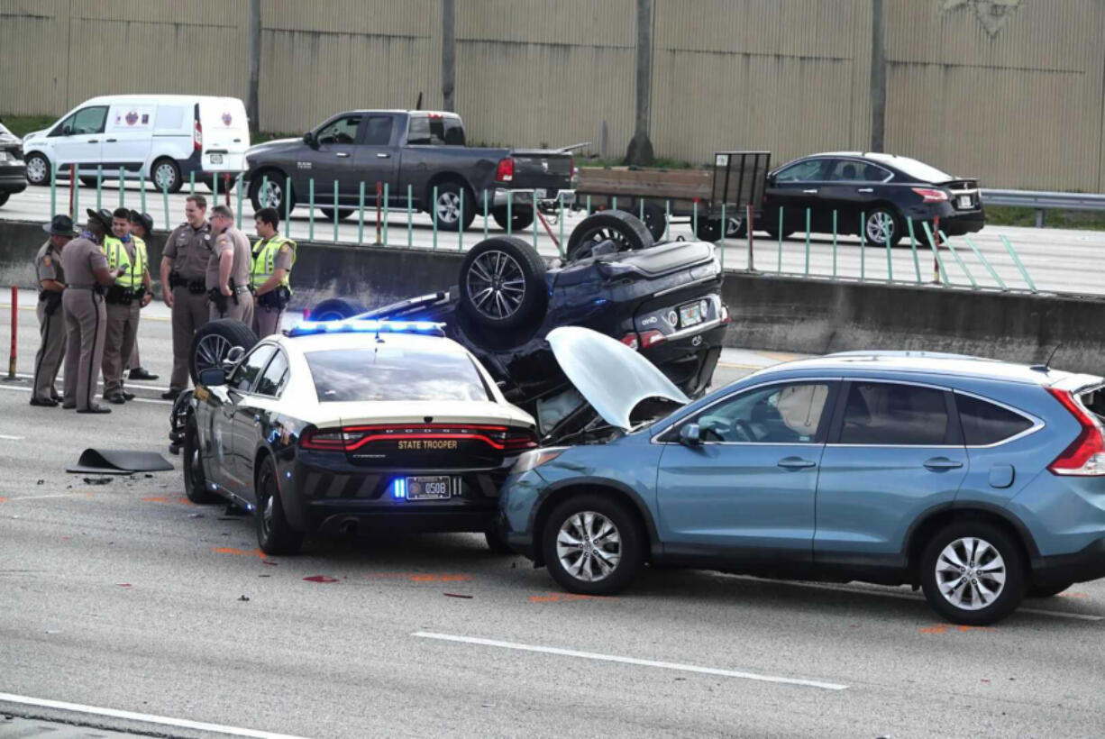 All lanes of Interstate 95 South are shut down during the morning rush hour following reports of a police chase and crash in the Hollywood area.