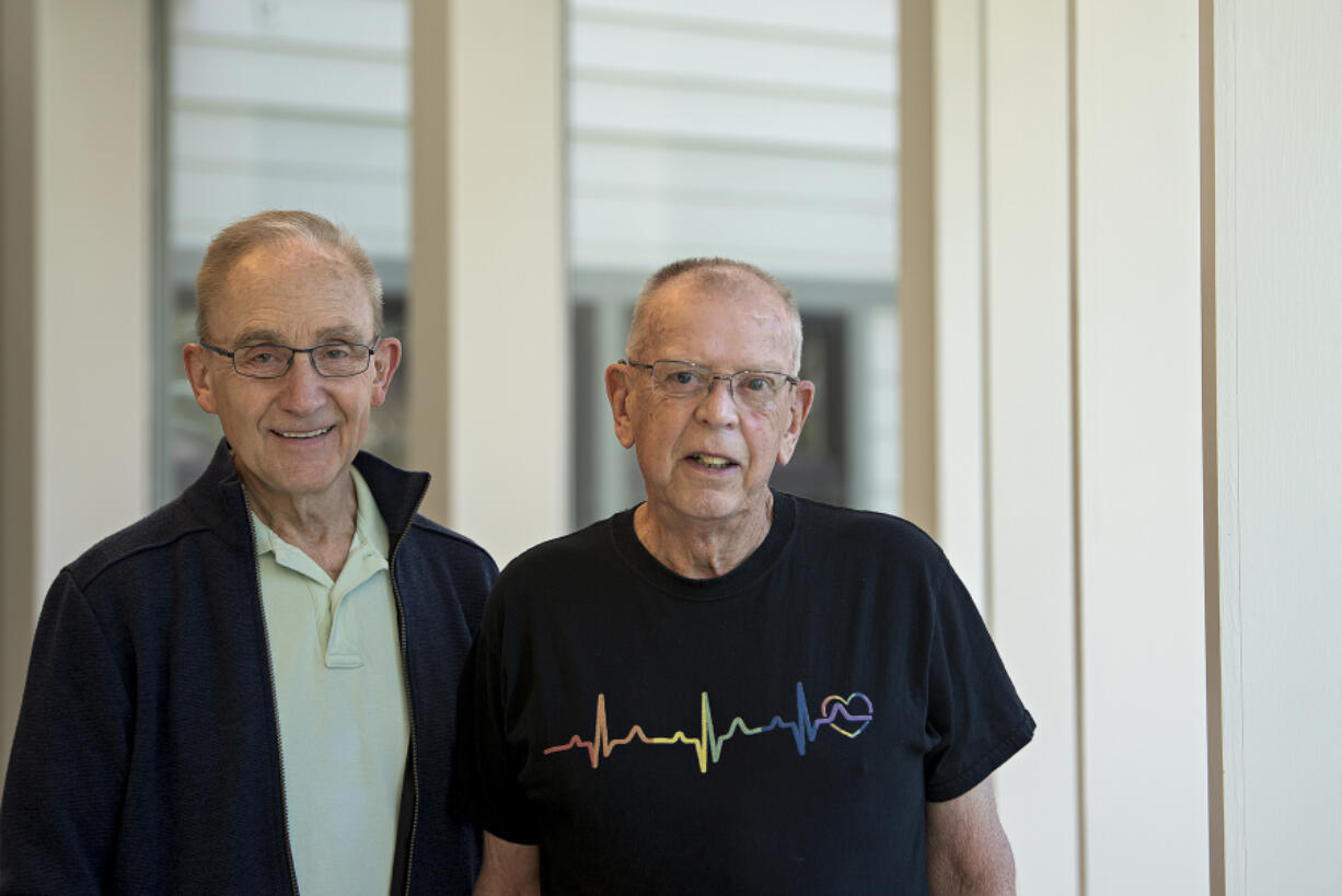 Carl Caspersen, left, and Richard Moody met shortly after Moody's heart transplant surgery 26 years ago.