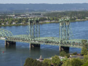 The Interstate 5 bridge pictured from the air on Tuesday, May 11, 2021.