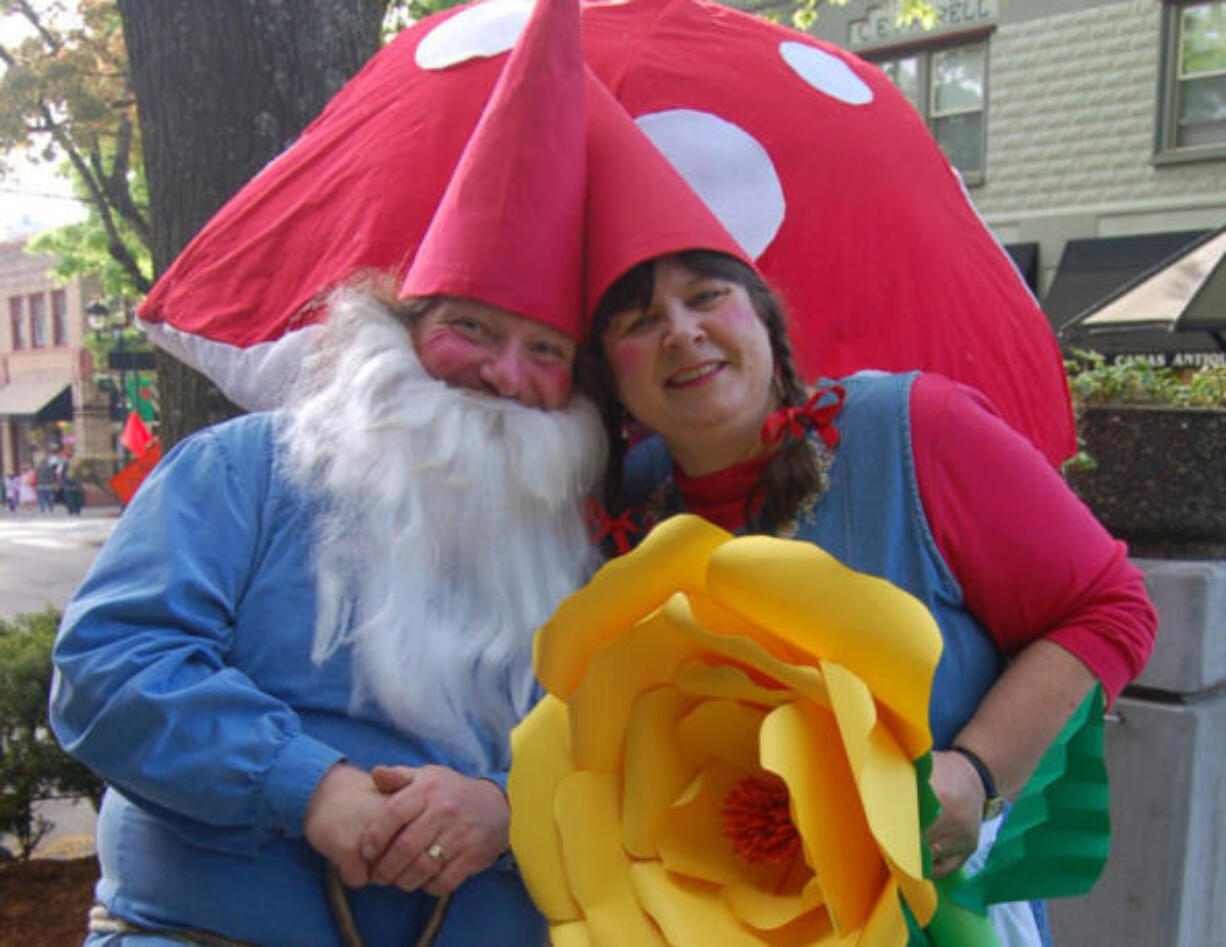 Charlie and Beth Raetz pose as Mr. and Mrs. Gnome at a past Gnome and Fairy Gala. Take a selfie with them this year in downtown Camas on Friday.