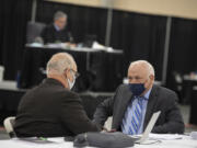 Don Benton, right, is pictured during the lawsuit trial Tuesday afternoon at the Clark County Event Center at the Fairgrounds.