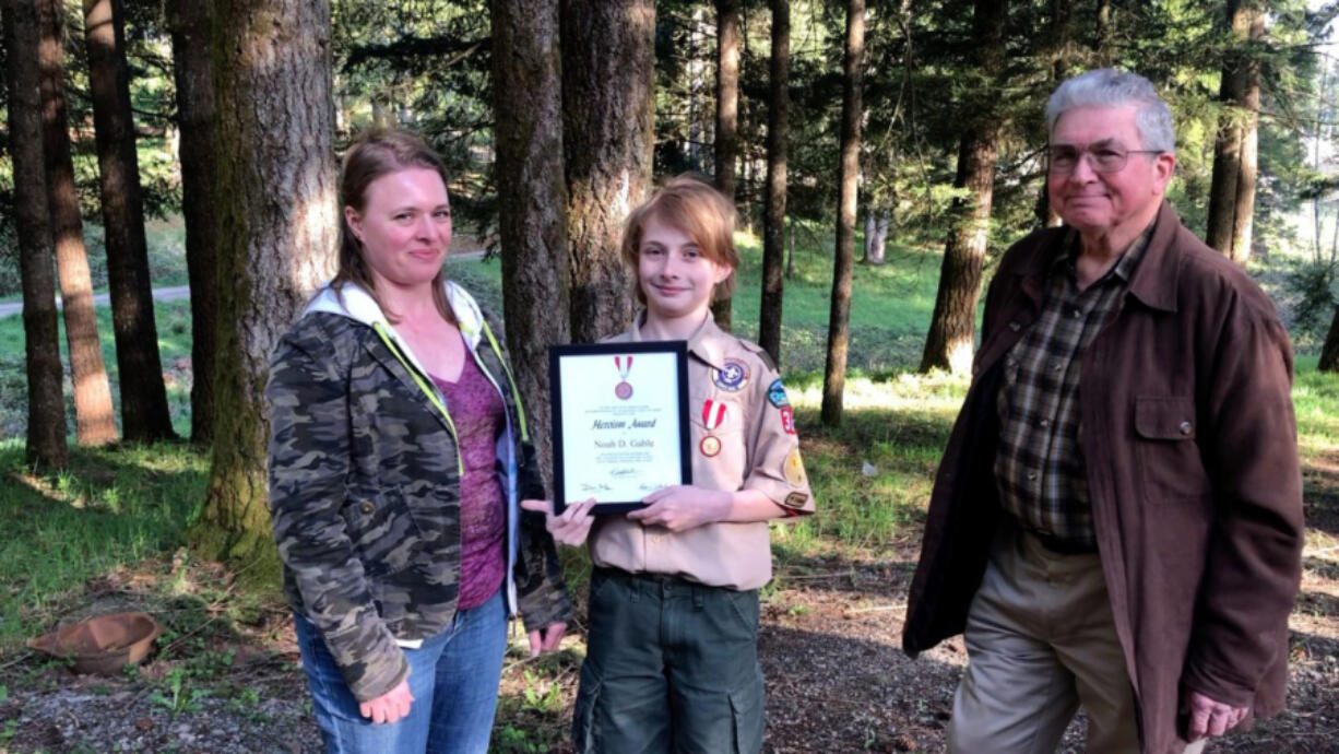 VANCOUVER: Vancouver Scout Noah Gable, 12, was presented with National Honor Medal for saving a boy from drowning.