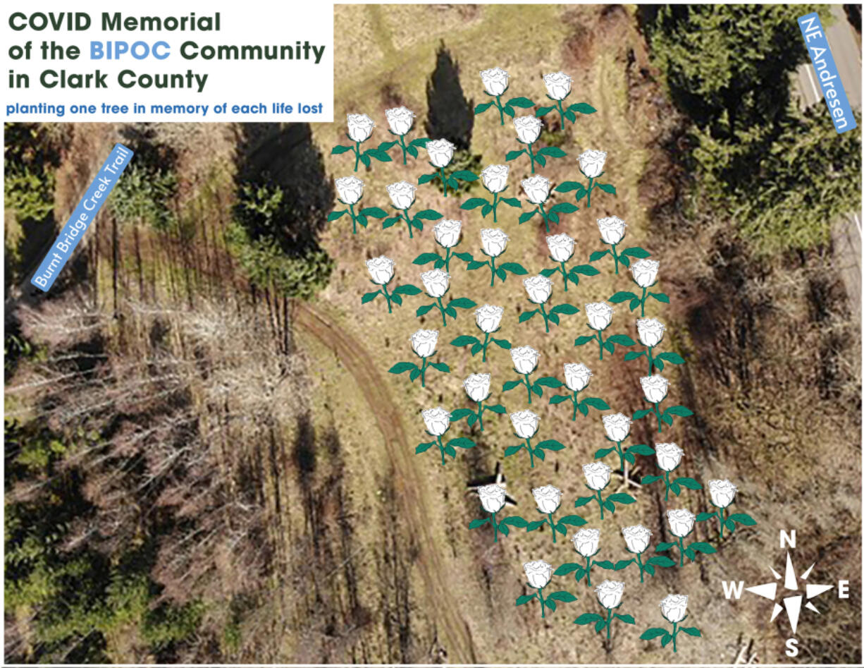 This image shows the layout of the BIPOC COVID-19 memorial, which can be viewed from the Burnt Bridge Creek Trail, as it follows along the greenway, just west of Andresen Road.
